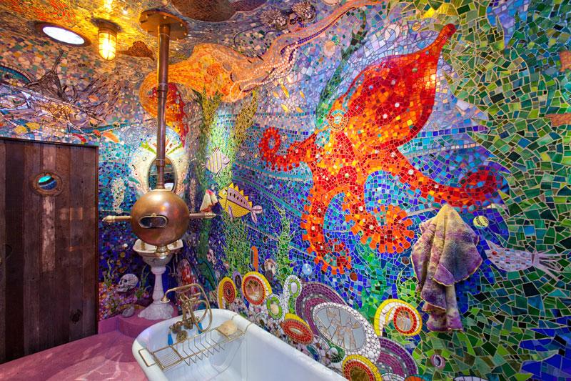 Bathroom Decor Blends Gaudi With Yellow Submarine