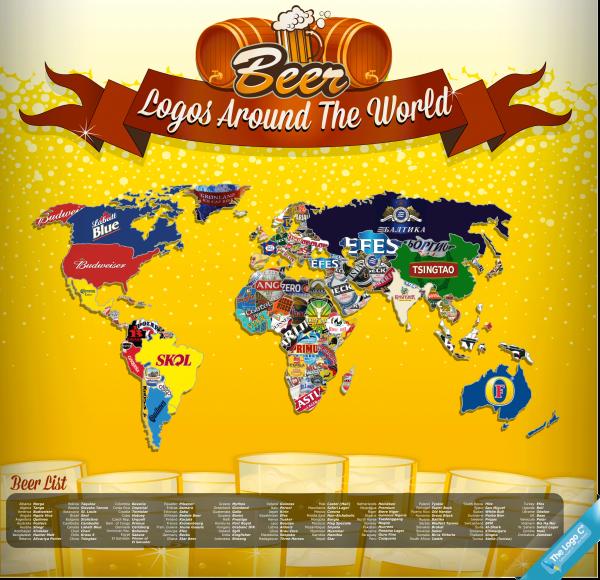 Viral News Website Needs A Playful Logo: World Map Of Beer [map]