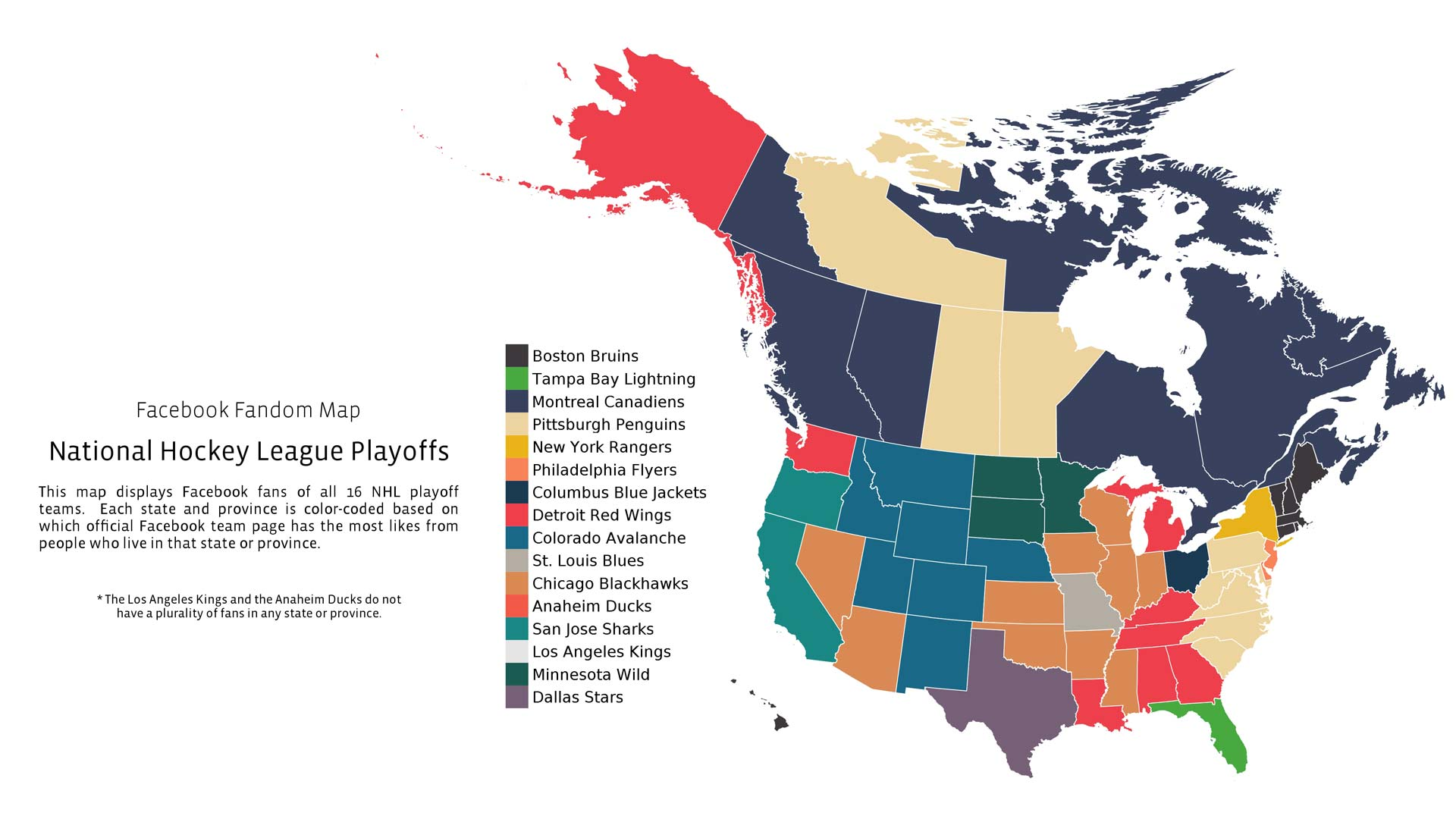 The North American Map Of Nhl Playoff Fandom Map Alltop Viral